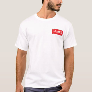 Name Plate templet,red, JAMES T-Shirt