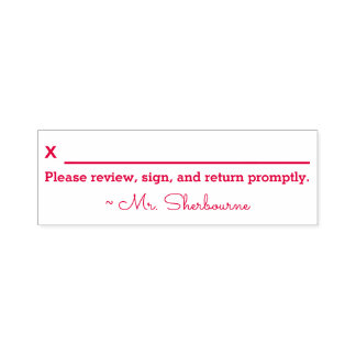 """Name + """"Please review, sign and return promptly."""" Self-inking Stamp"""