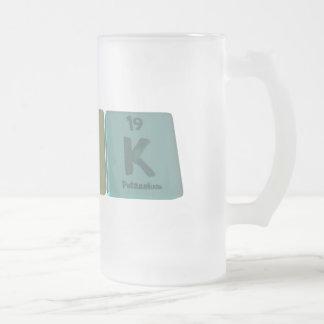 name-Pok-P-O-K-Phosphorus-Oxygen-Potassium Frosted Glass Beer Mug