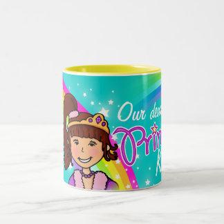 Name princess girls rainbow aqua mug