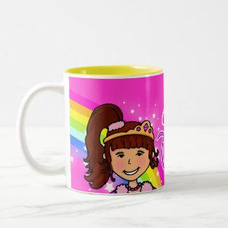 Name princess girls rainbow pink mug