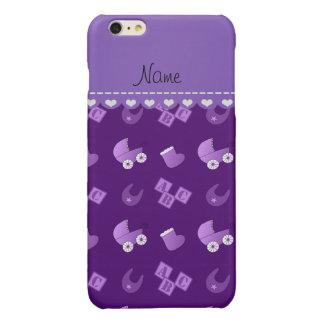 Name purple baby bib blocks carriage booties glossy iPhone 6 plus case