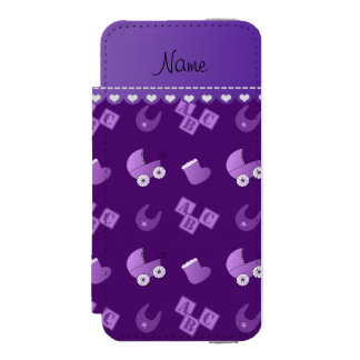 Name purple baby bib blocks carriage booties wallet case for iPhone SE/5/5s