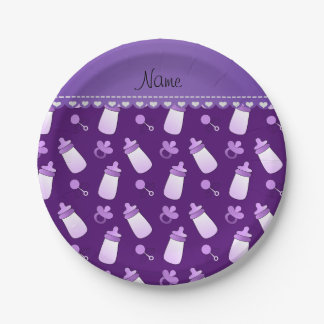 Name purple baby bottle rattle pacifier paper plate