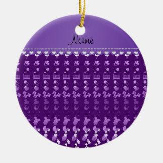 Name purple baby bottle rattle pacifier stork ceramic ornament