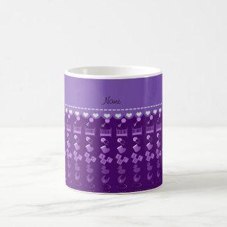 Name purple baby bottle rattle pacifier stork coffee mug