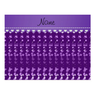 Name purple baby bottle rattle pacifier stork postcard