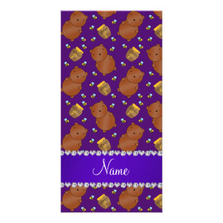 Name purple bears honeypots bees pattern photo card