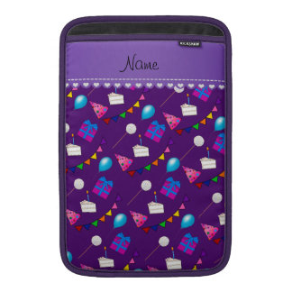Name purple birthday bunting cake hat balloons MacBook sleeve