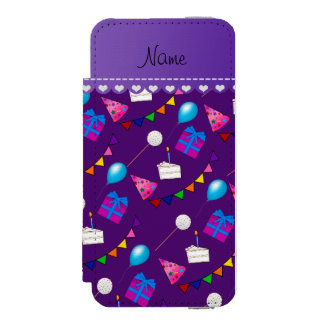 Name purple birthday bunting cake hat balloons wallet case for iPhone SE/5/5s