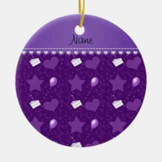 Name purple birthday cake balloons hearts stars ceramic ornament