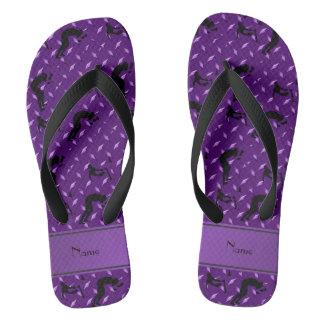Name purple diamond steel plate wrestling flip flops