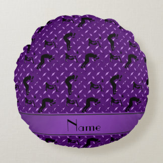 Name purple diamond steel plate wrestling round pillow