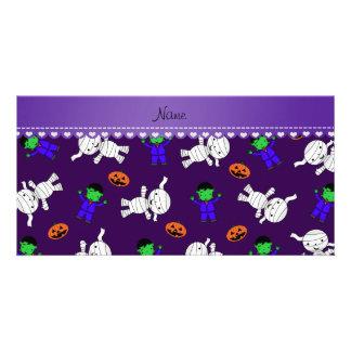 Name purple frankenstein mummy pumpkins photo card