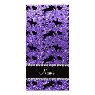Name purple glitter equestrian hearts bows customized photo card