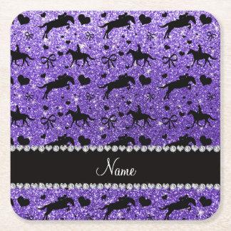 Name purple glitter equestrian hearts bows square paper coaster