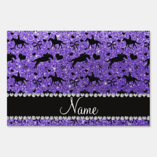 Name purple glitter equestrian hearts bows lawn sign