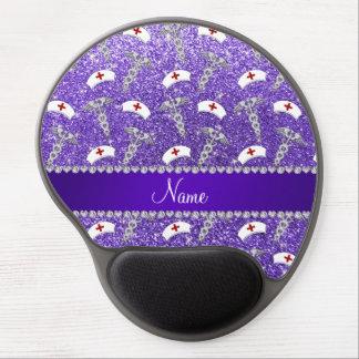 Name purple glitter nurse hats silver caduceus gel mouse pad