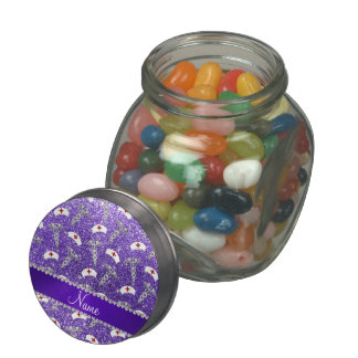 Name purple glitter nurse hats silver caduceus jelly belly candy jars