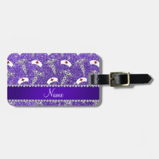 Name purple glitter nurse hats silver caduceus luggage tag