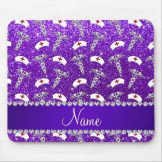 Name purple glitter nurse hats silver caduceus mouse pad