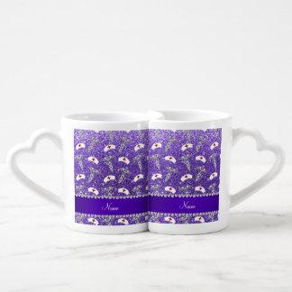 Name purple glitter nurse hats silver caduceus couples' coffee mug set