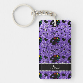 name purple glitter painter palette brushes Single-Sided rectangular acrylic keychain
