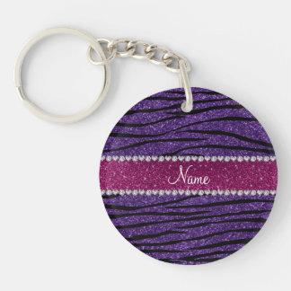 Name purple glitter zebra stripes pink stripe keychain