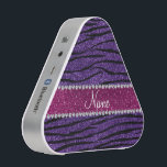 """Name purple glitter zebra stripes pink stripe speaker<br><div class=""""desc"""">Modern, chic and trendy purple glitter zebra stripes pattern (animal print) (not real glitter) with a sparkly pink diamonds ribbon stripe (not real diamonds) with hearts and dots personalized with your name gifts or monogram gifts or your initials or you can add your own personal text. Glitter zebra gift ideas...</div>"""