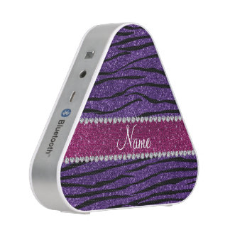 Name purple glitter zebra stripes pink stripe speaker