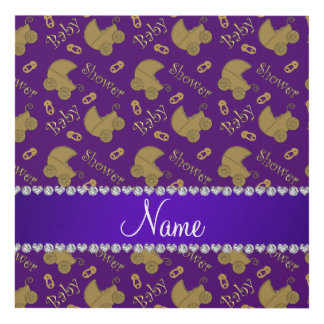 Name purple gold baby carriages pins baby shower panel wall art
