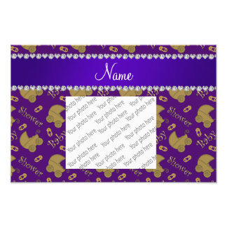 Name purple gold baby carriages pins baby shower photo print