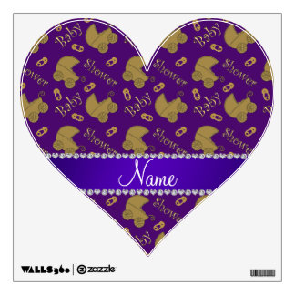 Name purple gold baby carriages pins baby shower room graphics