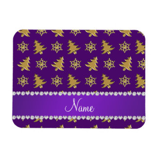 Name purple gold christmas trees snowflakes magnet