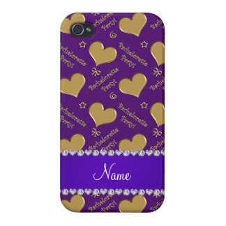 Name purple gold hearts bachelorette party iPhone 4/4S covers