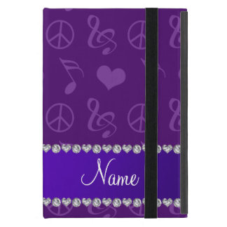Name purple music notes hearts peace sign cover for iPad mini