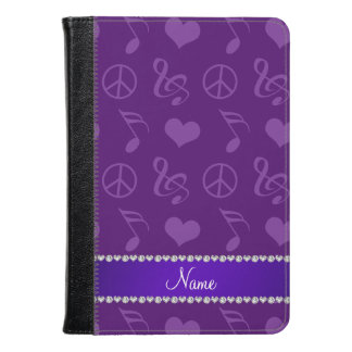 Name purple music notes hearts peace sign kindle case