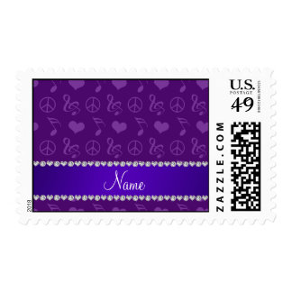 Name purple music notes hearts peace sign postage
