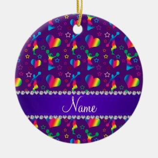 Name purple rainbow cheerleading hearts stars ceramic ornament
