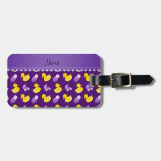 Name purple rubberduck baby carriage bag tag