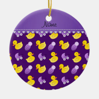 Name purple rubberduck baby carriage ceramic ornament