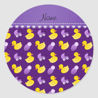 Name purple rubberduck baby carriage classic round sticker