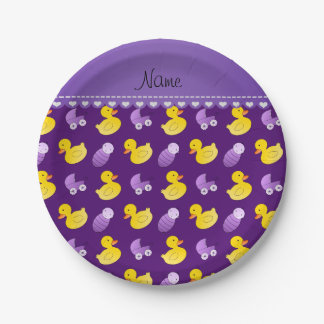 Name purple rubberduck baby carriage paper plate