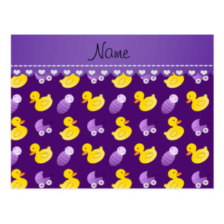 Name purple rubberduck baby carriage postcard