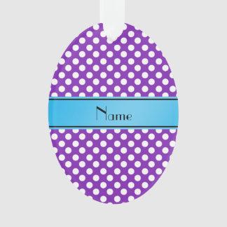 Name purple white polka dots blue stripe ornament
