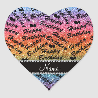 Name rainbow glitter happy birthday balloons heart sticker