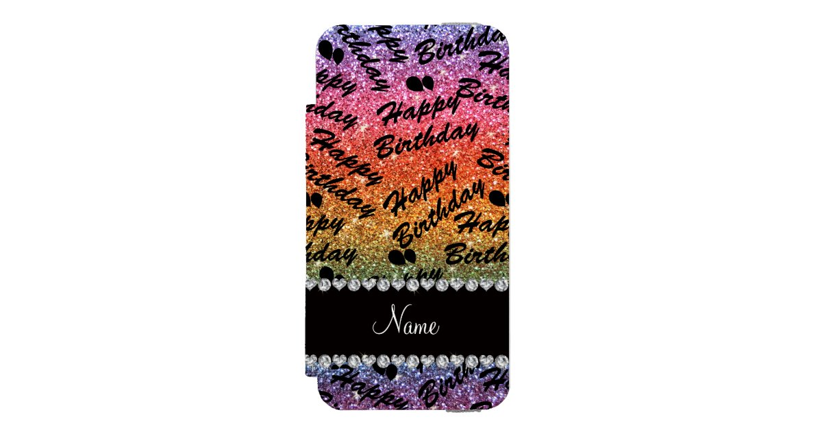 name rainbow glitter happy birthday balloons incipio iphone wallet