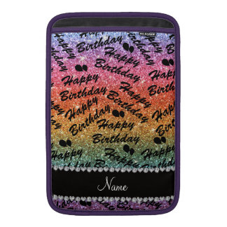 Name rainbow glitter happy birthday balloons sleeve for MacBook air