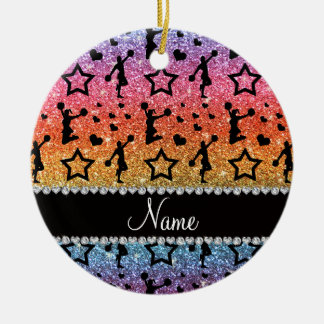 Name rainbow glitter stars hearts cheerleading ceramic ornament