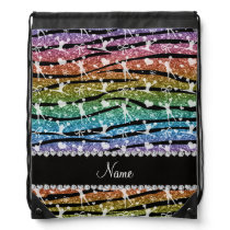 Name rainbow glitter zebra stripes cheerleading drawstring bag